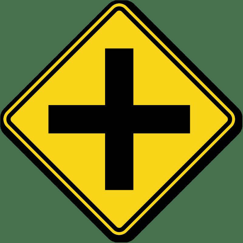 Cross Road Symbol Sign  W21, Sku Xw21