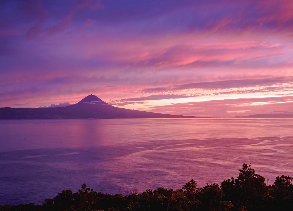 View of Pico Island at sunset