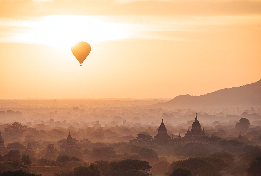 Stock Travel Image: Hot air balloon above temples, Myanmar (Burma)