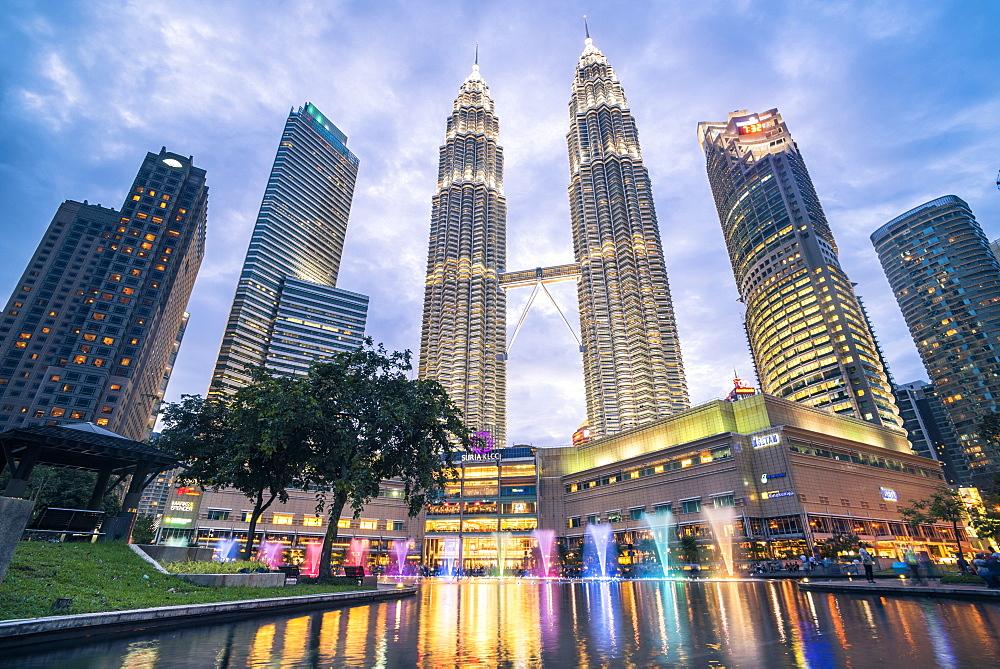 Stock photo of Petronas Twin Towers light display at night, Kuala Lumpur