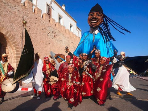 Stock photo of a carnival figure at Morocco's Gnaoua Festival