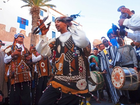 Stock photo of musicians at Morocco's Gnaoua Festival