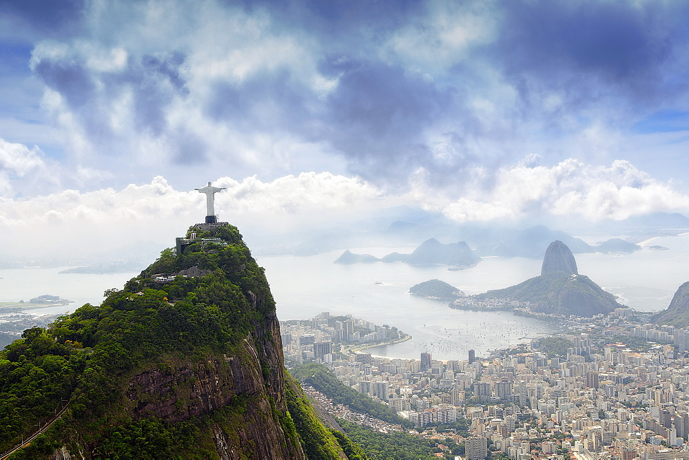 Stock photo of Corcovado, the Christ and the Sugar Loaf in Rio, Brasil