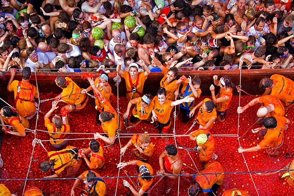 Stock photo of the Tomatina festival, Spain
