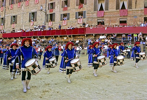 Stock photo of drummers at Palio horse race