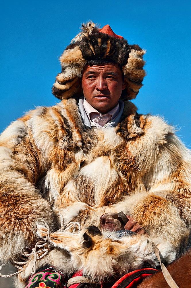 Stock Travel Photo: Mongolian Golden Eagle Hunter Portrait