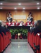 Il presidente della Corte d'Appello durante il discorso (Foto Eidon)