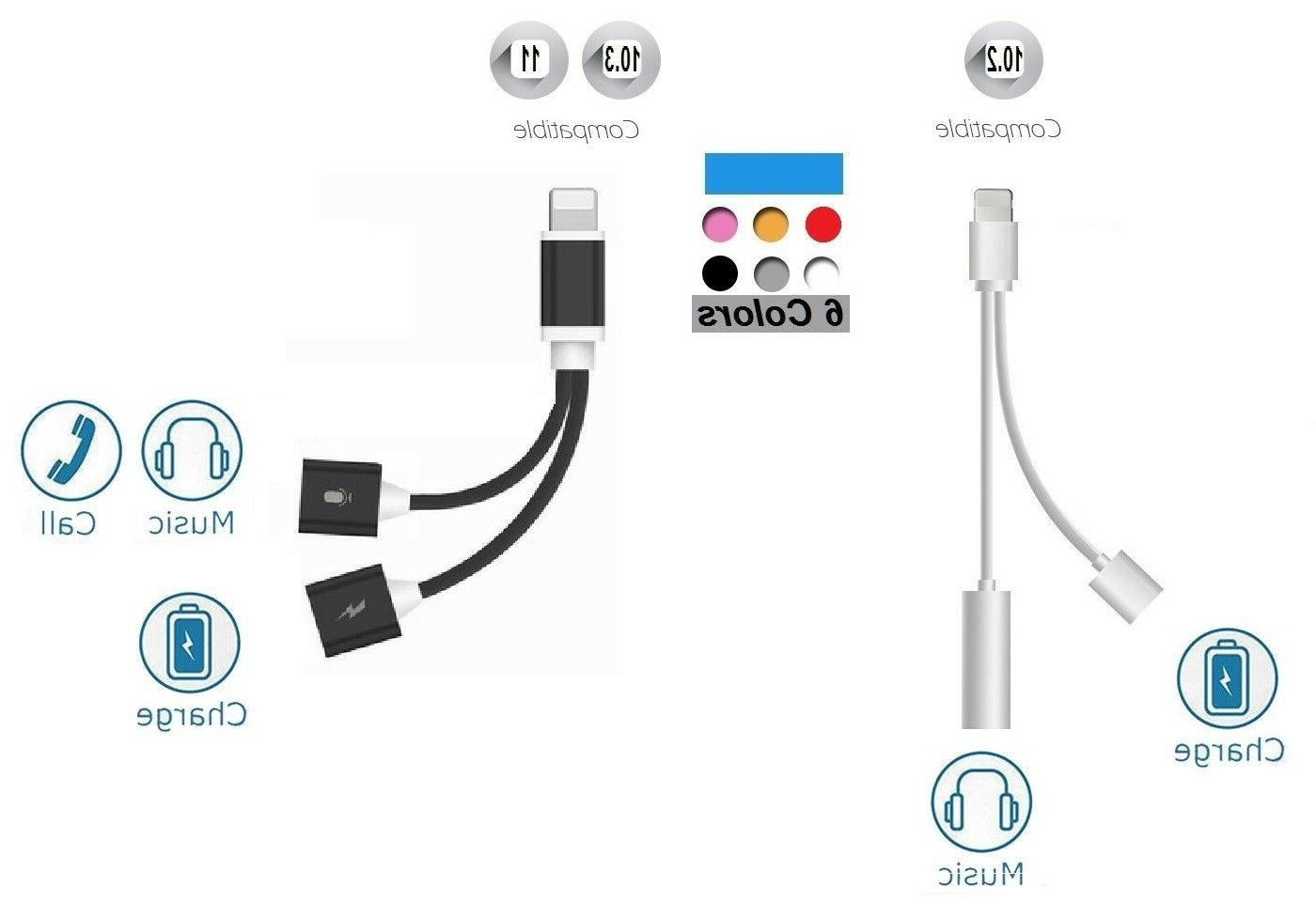 2in1 Lightning to 3.5mm Audio Headphone Adapter Charger