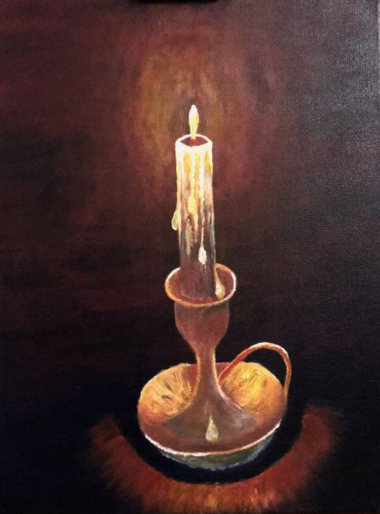 Candle Art : candle, Burning, Candle, Painting, Zephyr, Saatchi