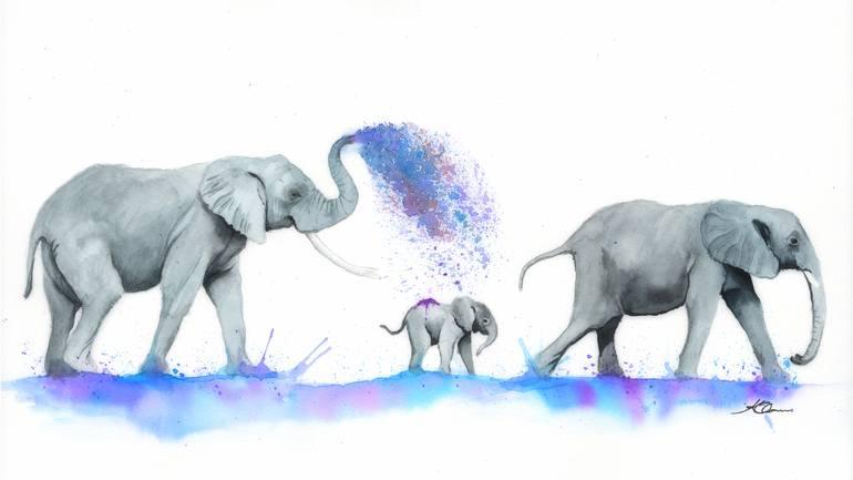 watercolour elephants painting 16x12