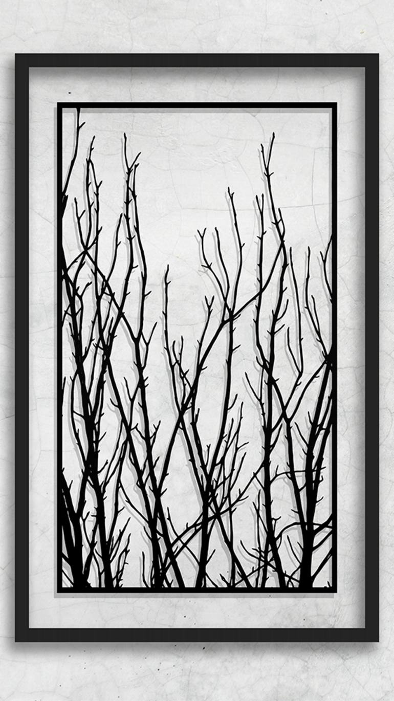 Tree Branch Art : branch, Paper, Artwork-, Branches-, Branch, Silhouette-, Large, Branches, Sale-, Black, White, Collage, Dmytro, Iuliia, Saatchi
