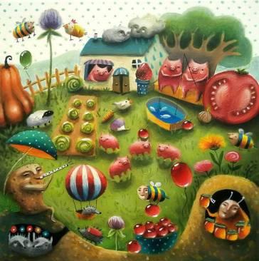 Acrylic painting on canvas Farm, village, original, cat, surreal,  vegetables, children, potato, bees, pumpkin, Kateryna Wyhivska Painting by  Kateryna Wyhivska | Saatchi Art