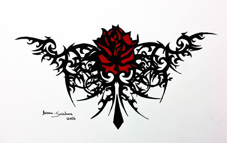 tribal rose ink design
