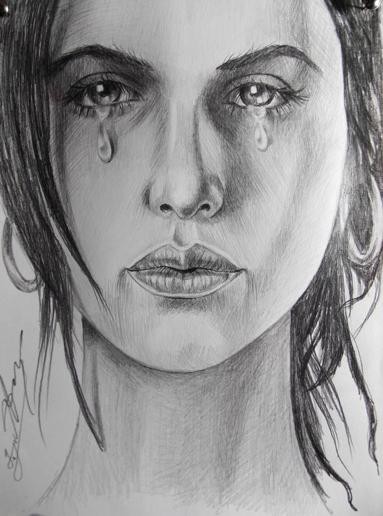 Drawing Of A Girl Crying : drawing, crying, Crying, Drawing, Daviti, Asatiani, Saatchi