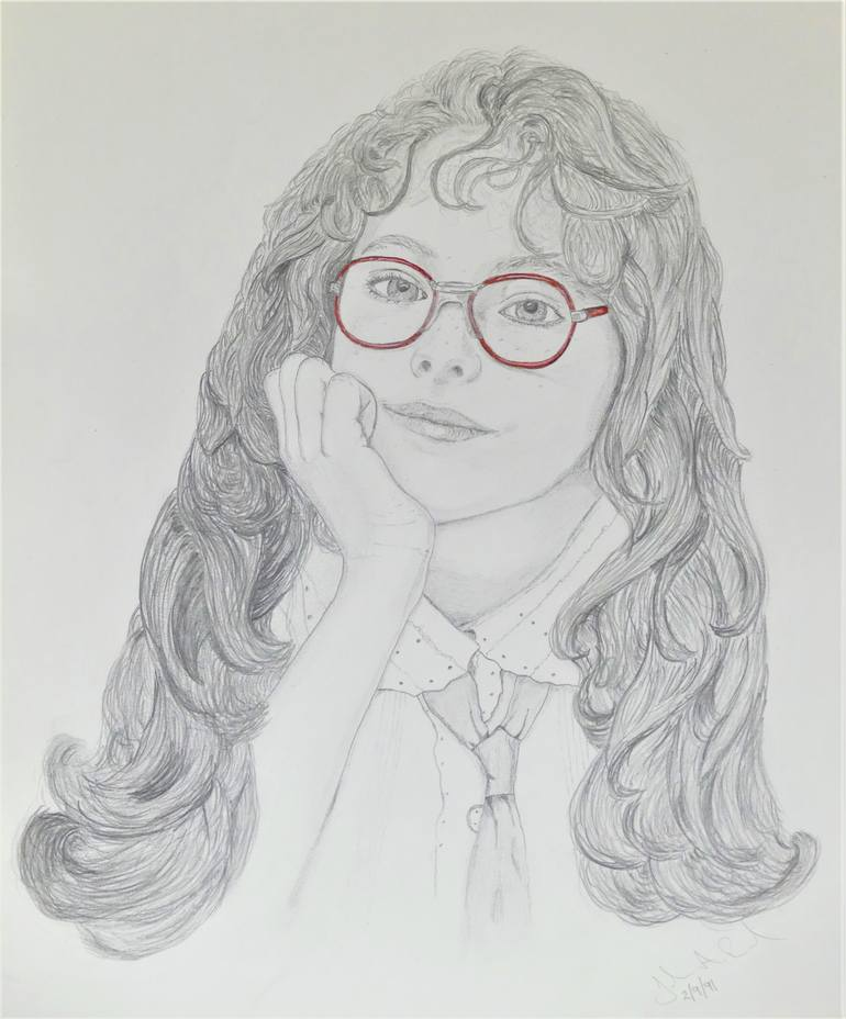 Girl With Glasses Drawing : glasses, drawing, Glasses, Drawing, Saatchi