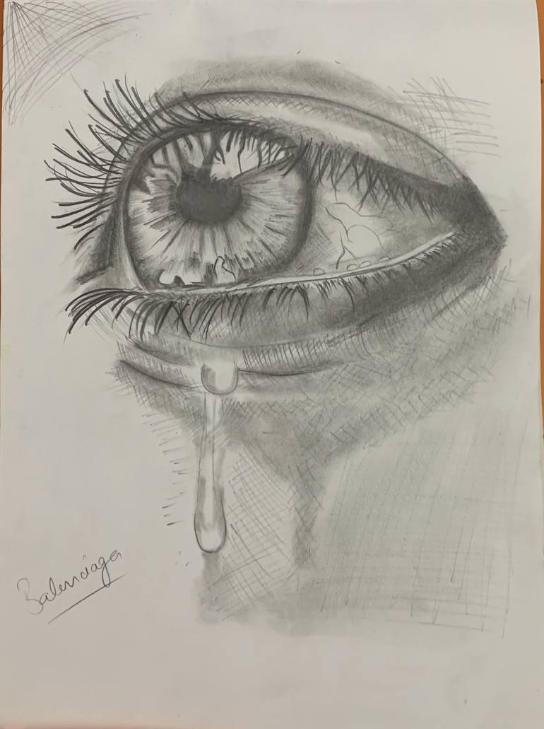 Drawing Of An Eye Crying : drawing, crying, Crying, Sketch, Drawing, Ishan, Chandra, Saatchi