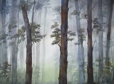 We're selling prints as well as the original artwork. Mysterious Foggy Dense Forest Watercolor On Paper Painting By Samiran Sarkar Saatchi Art
