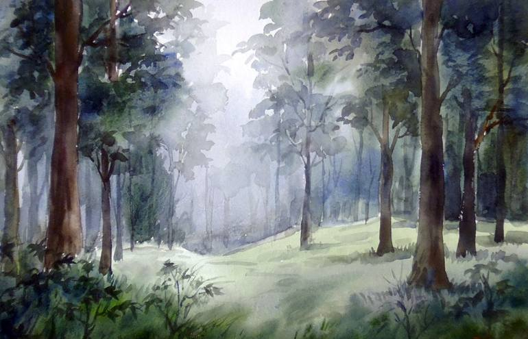 Dyke, little rock, from 2003; Mysterious Mountain Dense Forest Watercolor On Paper Painting By Samiran Sarkar Saatchi Art