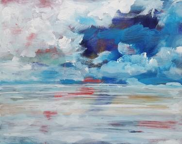 blue white abstract paintings