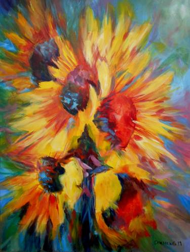 abstract sunflowers paintings for