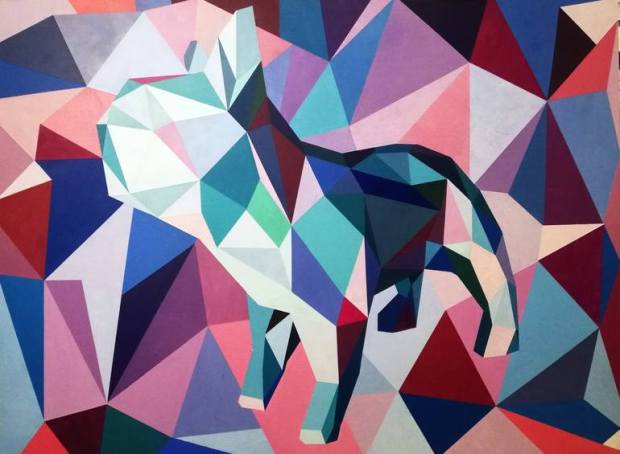 Original Dogs Painting by Riaan Vosloo Contemporary Paintings | Illustration Art on Other | French Bulldog Turquoise, Pink & blue