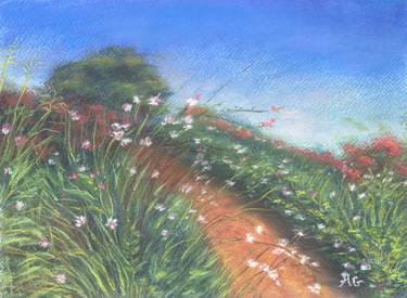 serenity pastel landscape drawing