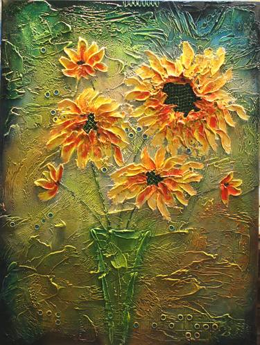 abstract sunflower painting paintings