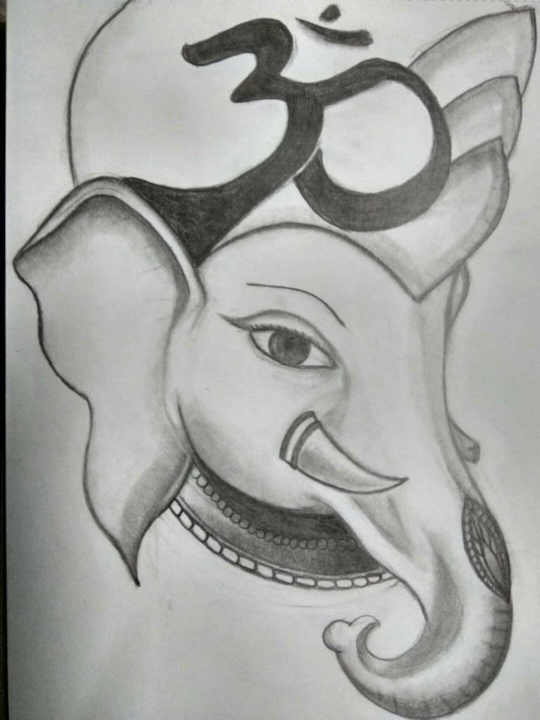 Ganesha Drawing By Scar Ted Saatchi Art