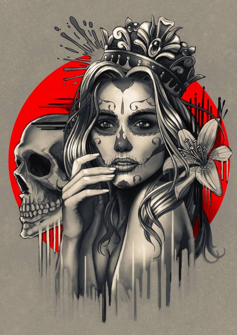 Sugar Skull Girl With Crown Printmaking By Ben Krefta Saatchi Art