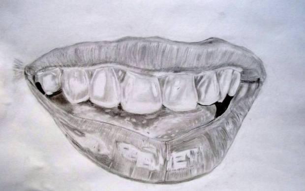 Original People Drawing by Dr Mubarak Muhammad Ali | Fine Art Art on Paper | smiling lips