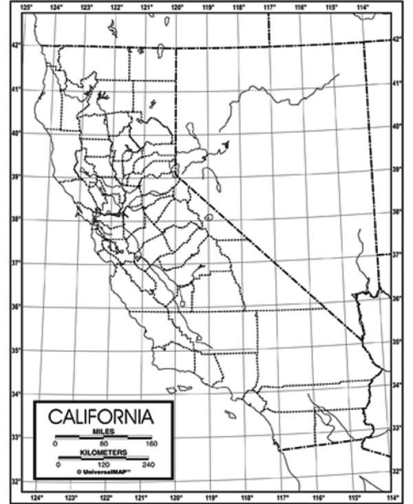 Outline Map, Laminated, California