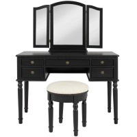 Bathroom Tri Mirror Vanity Makeup Table and Bench Hair ...