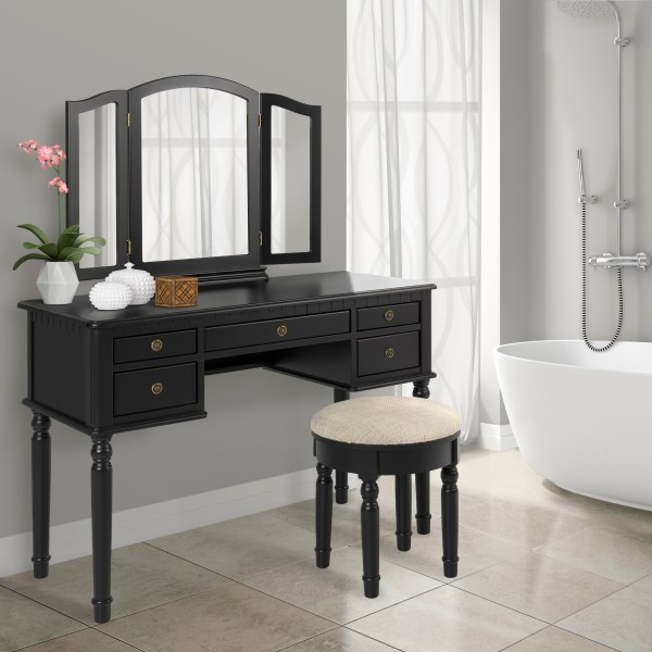 Bathroom Tri Mirror Vanity Makeup Table And Bench Hair