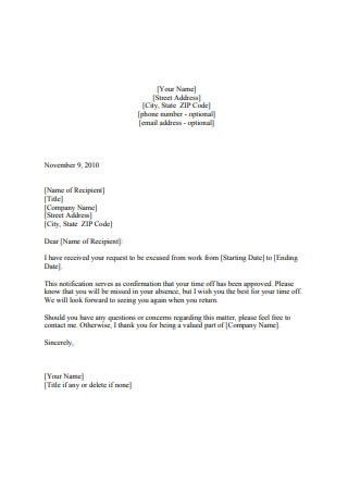 19 Sample Vacation Request Letters In Pdf Ms Word