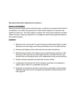 30+ SAMPLE Paternity Leave in PDF | MS Word | Excel