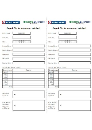 Hdfc Bank Deposit Slip New : deposit, SAMPLE, Deposit, Templates