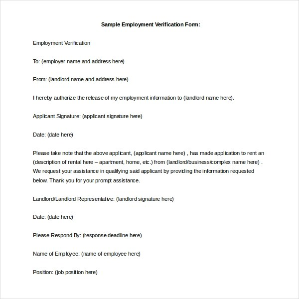 Landlord Employment Verification Form Jpg  Past Employment Verification Form
