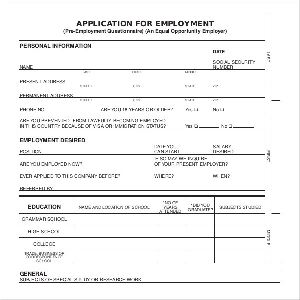 Sample Employment Application Forms  12+ Free Documents