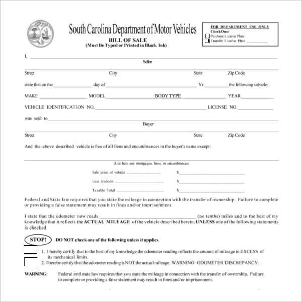 Sc Bill Of Sale >> Bill Of Sale Form Sc Free Resume Samples Writing Guides