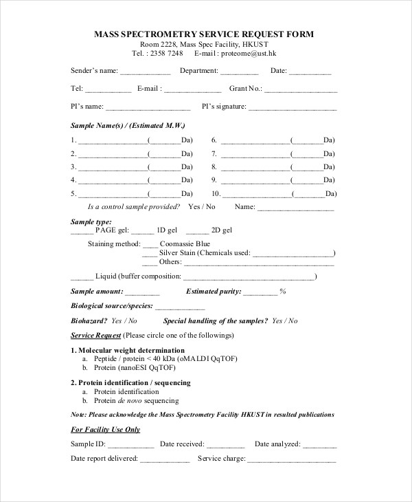 FREE 11+ Sample Service Request Forms in PDF | Word | Excel