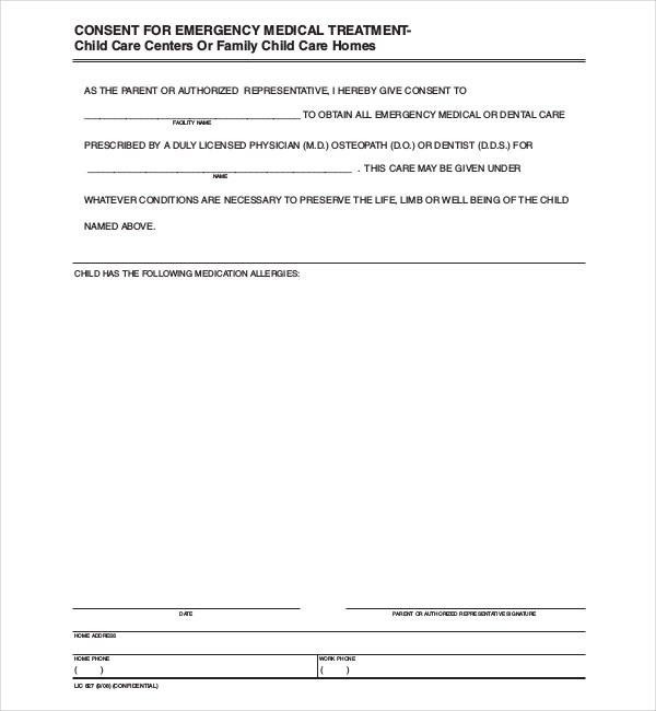 Letter Giving Authorization Medical Care Child | Docoments Ojazlink