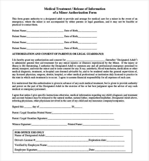 Medical Release Form For Minor Generic Medical Records Release Form