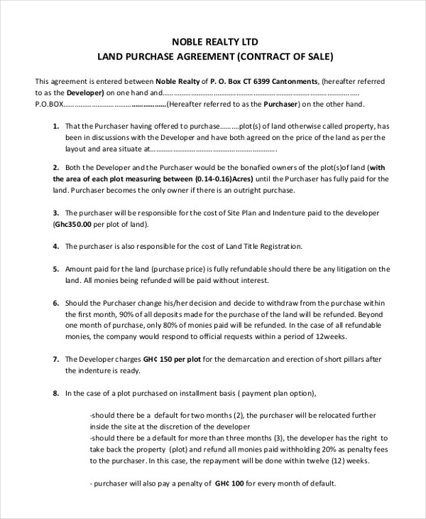 Although it's purpose is to finalize the sale, it is not the business end of the contract. Free 8 Sample Land Purchase Agreement Forms In Pdf Ms Word