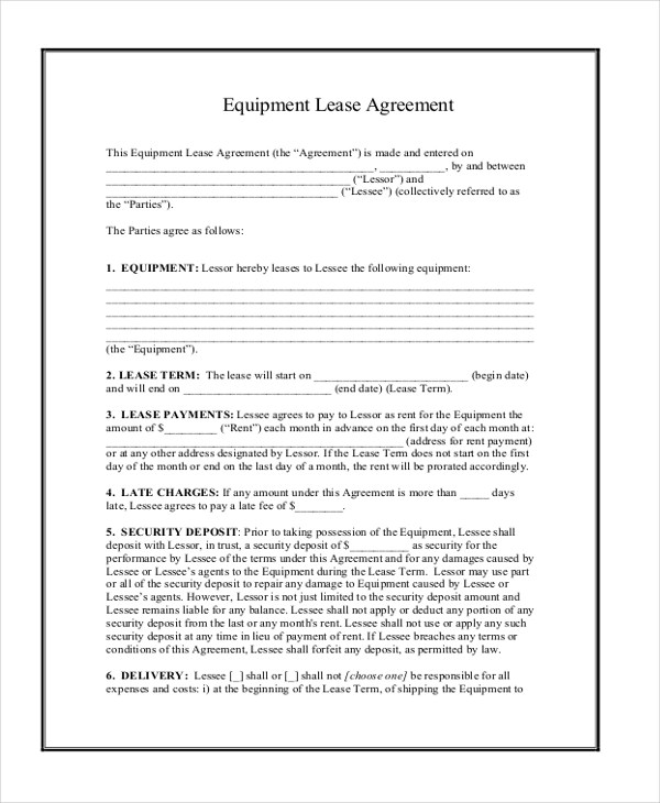 Sample Lease Agreement Form Equipment Lease Agreement