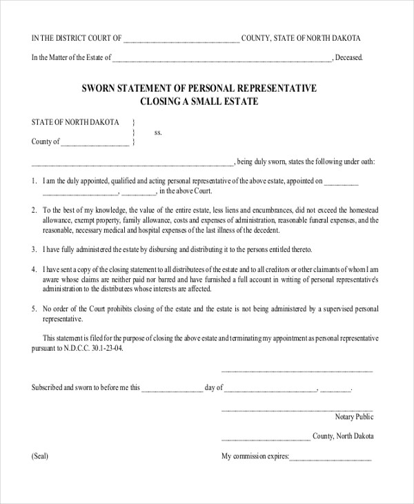 Sworn Declaration Template - FREE DOWNLOAD