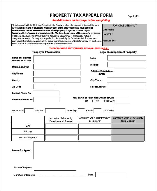 Sample Tax Assessment