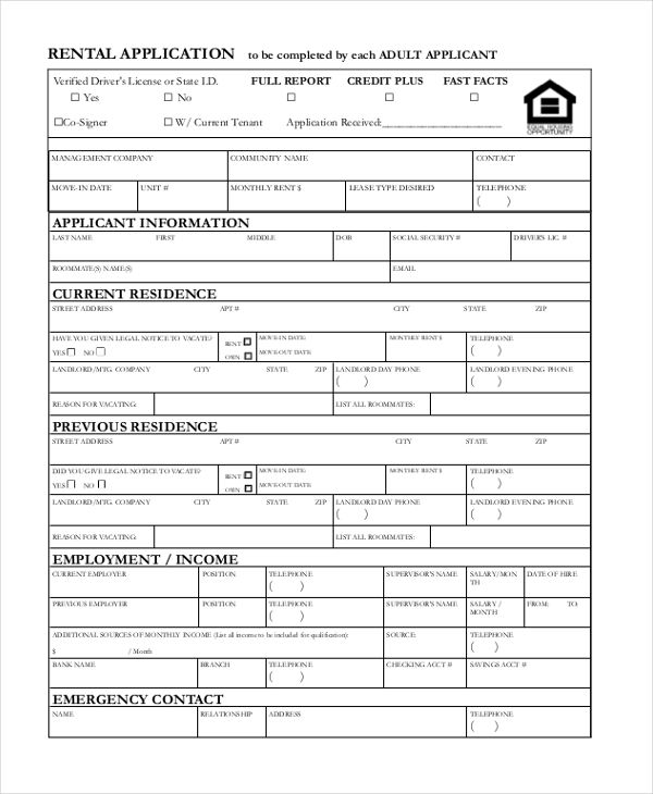 rental application sample