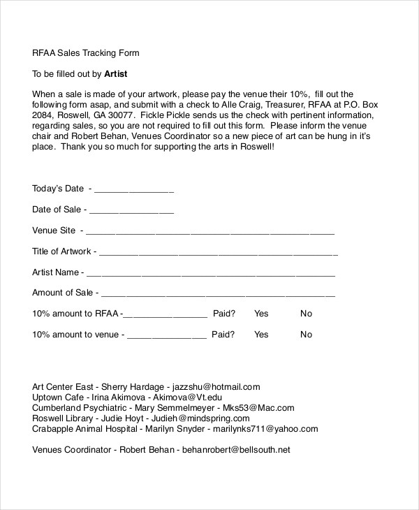 Sales Tracking Form - 8+ Free Documents in PDF