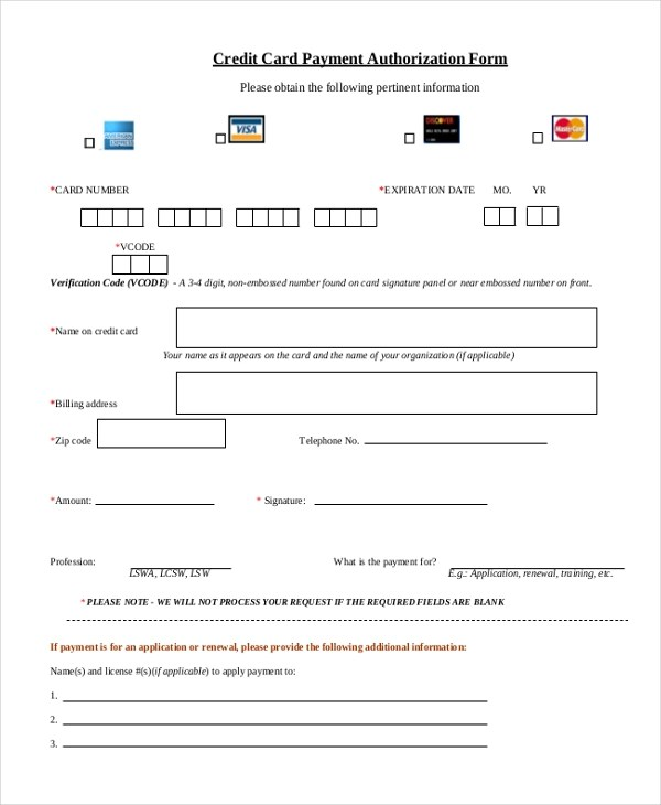 Credit Card Payment Authorization Form Sample  InfocardCo