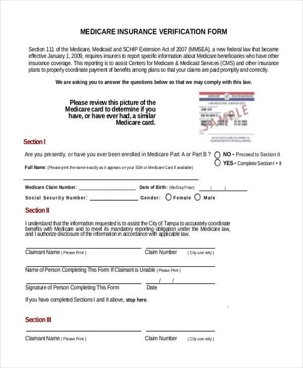 FREE 10+ Sample Insurance Verification Forms in PDF | MS Word
